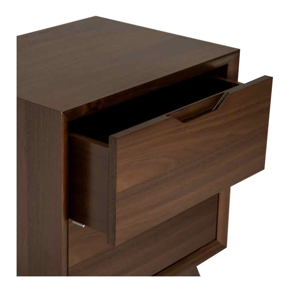 Stefan Scandinavian Walnut and Beech Wood Bedside Table with 2 Drawers INTERIOR SECRETS  ST866-VN Nora 2 Drawer Bed Side Table in Walnut