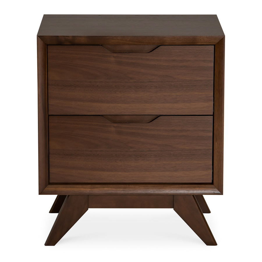 Stefan Scandinavian Walnut and Beech Wood Bedside Table with 2 Drawers INTERIOR SECRETS  ST866-VN Nora 2 Drawer Bed Side Table in Walnut , RETROJAN  Harper Bedside Table - Walnut