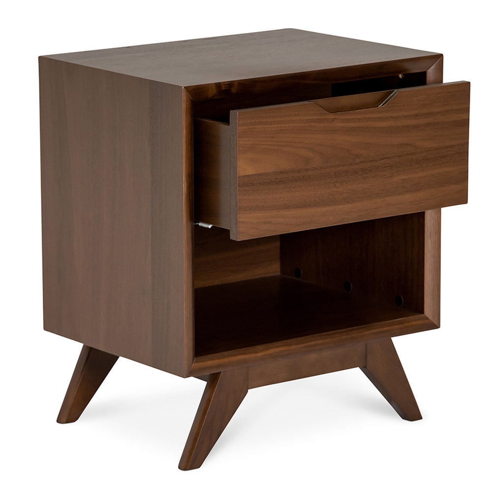Stefan Scandinavian Walnut and Beech Wood Bedside Table with Drawer