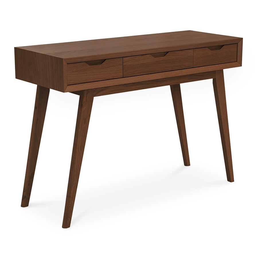 Stefan Scandinavian Walnut and Beech Wood Console Table with Drawers BROSA TBLELZ12WAL Elizabeth Dressing Table, RETROJAN Harper Dressing Table - Walnut