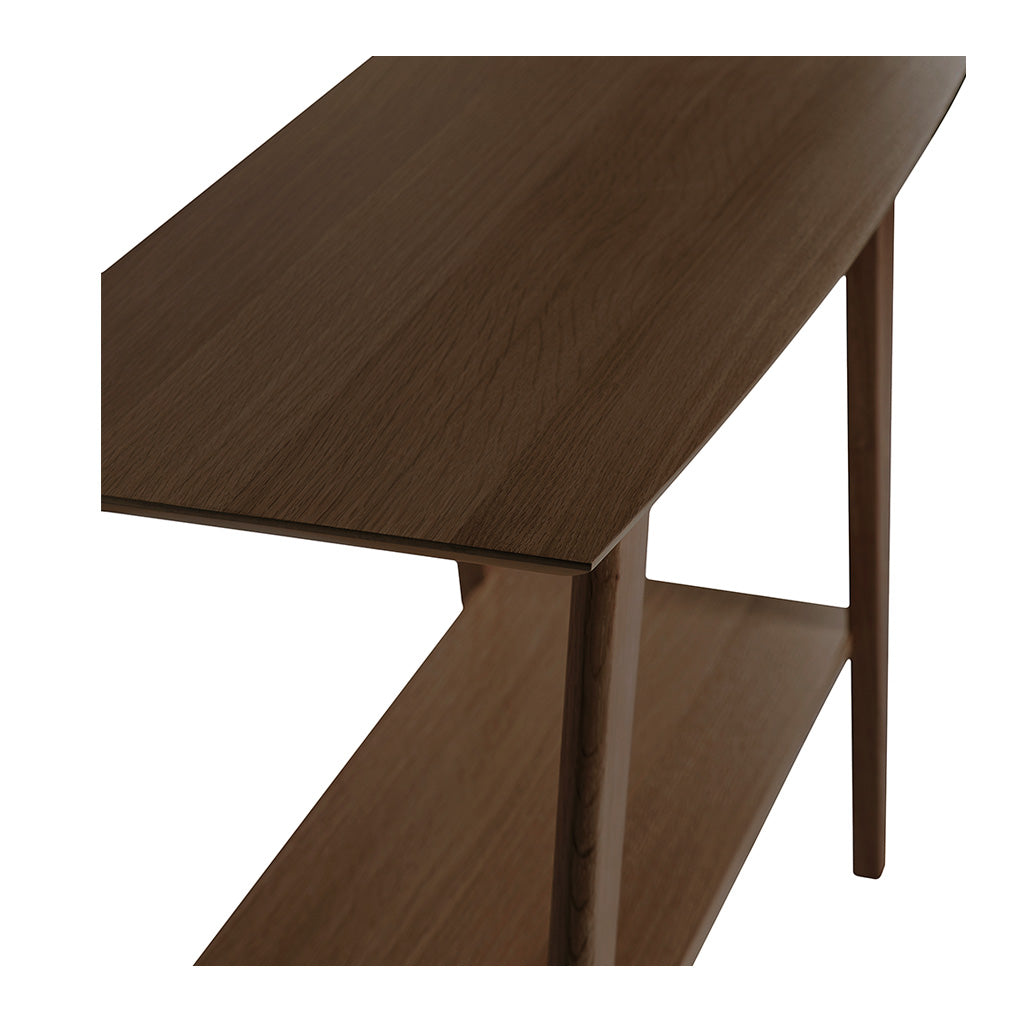 Stefan Scandinavian Walnut and Beech Wood Console Table with Shelf BROSA TBLELZ22WAL Elizabeth Console Table, RETROJAN Harper Console Table - Walnut