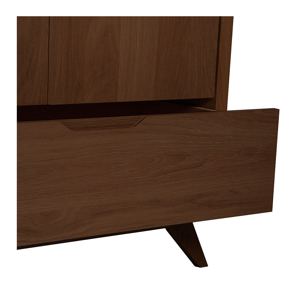 Stefan Scandinavian Walnut and Beech Wood Freestanding Double Wardrobe