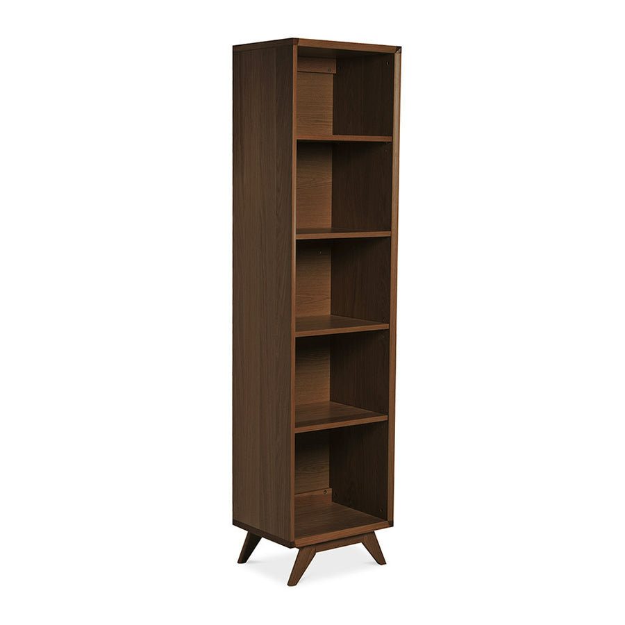 Stefan Scandinavian Walnut and Beech Wood Narrow Bookcase / Bookshelf BROSA SHLELZ13WAL Elizabeth Narrow Bookcase