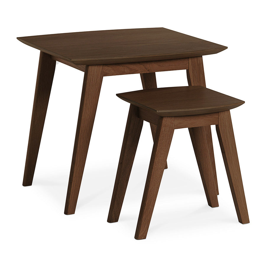 Stefan Scandinavian Walnut and Beech Wood Nesting Side Tables BROSA TBLELZ24WAL Elizabeth Nesting Tables