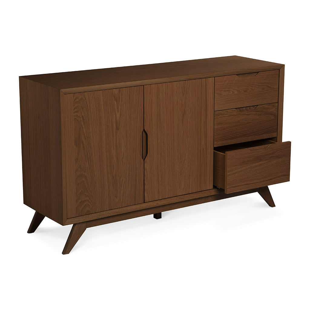Stefan Scandinavian Walnut and Beech Wood Sideboard BROSA SDBELZ18WAL Elizabeth Sideboard,