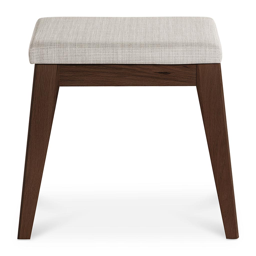 Stefan Scandinavian Walnut and Beech Wood Fabric Stool