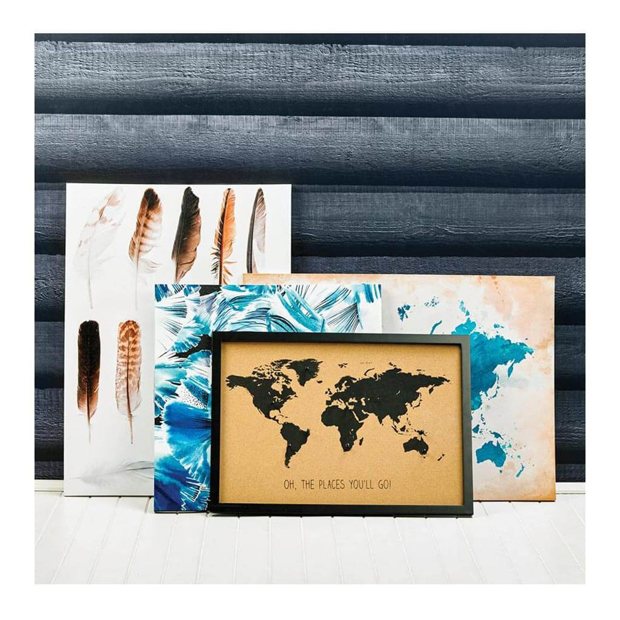 Other Decor Emporium World Map Cork Board + Pins HDDEE023