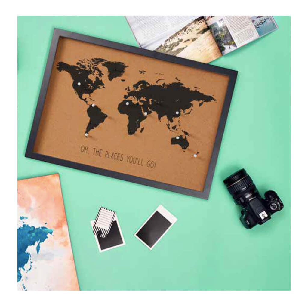 Other Decor Emporium World Map Cork Board + Pins HDDEE023 lifestyle2