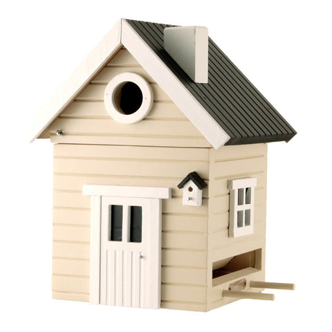 Designer Bird House + Feeder - Almond by Wildlife Garden
