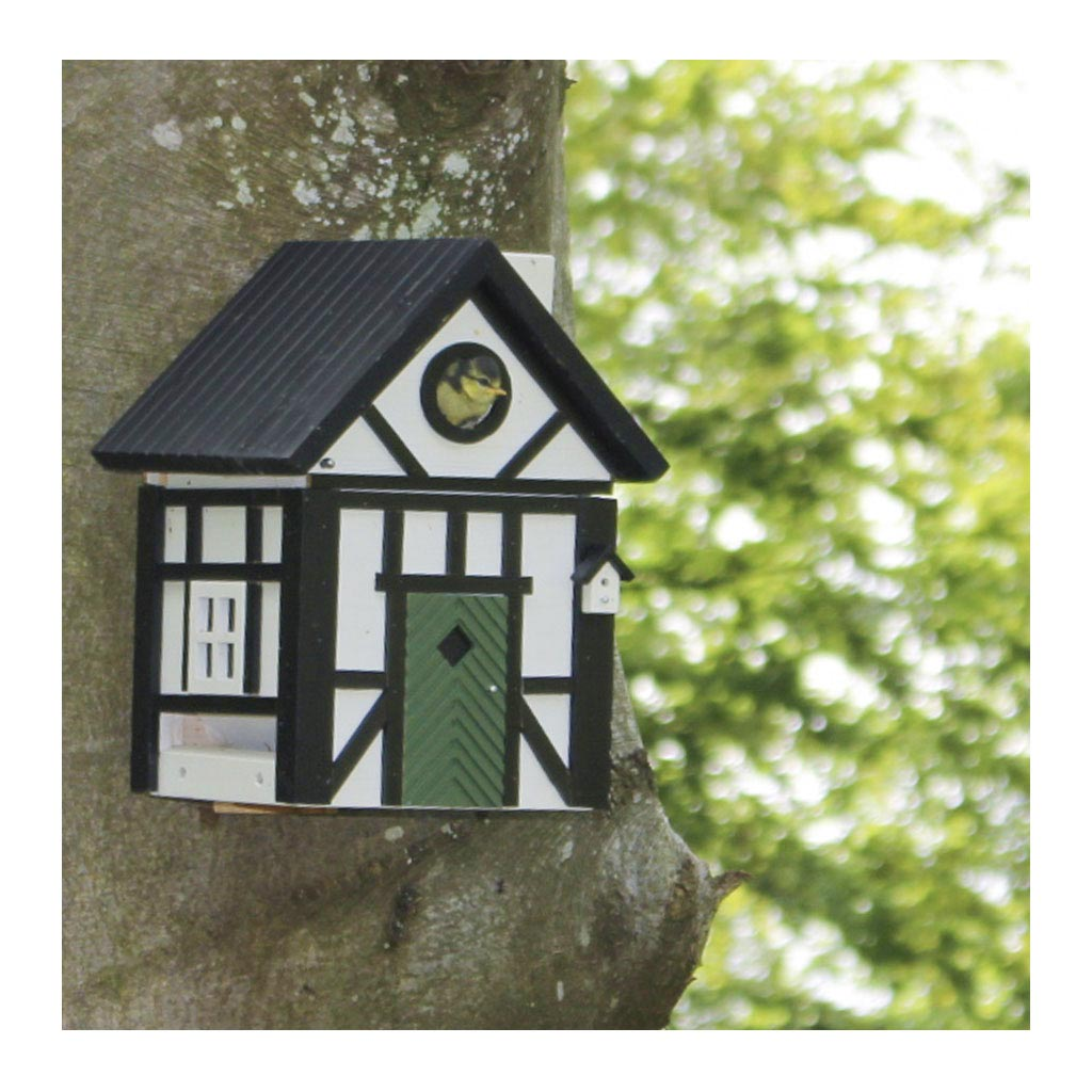 Wildlife Garden Multiholk Designer Bird House + Feeder Half Timber Black Cottage WG109