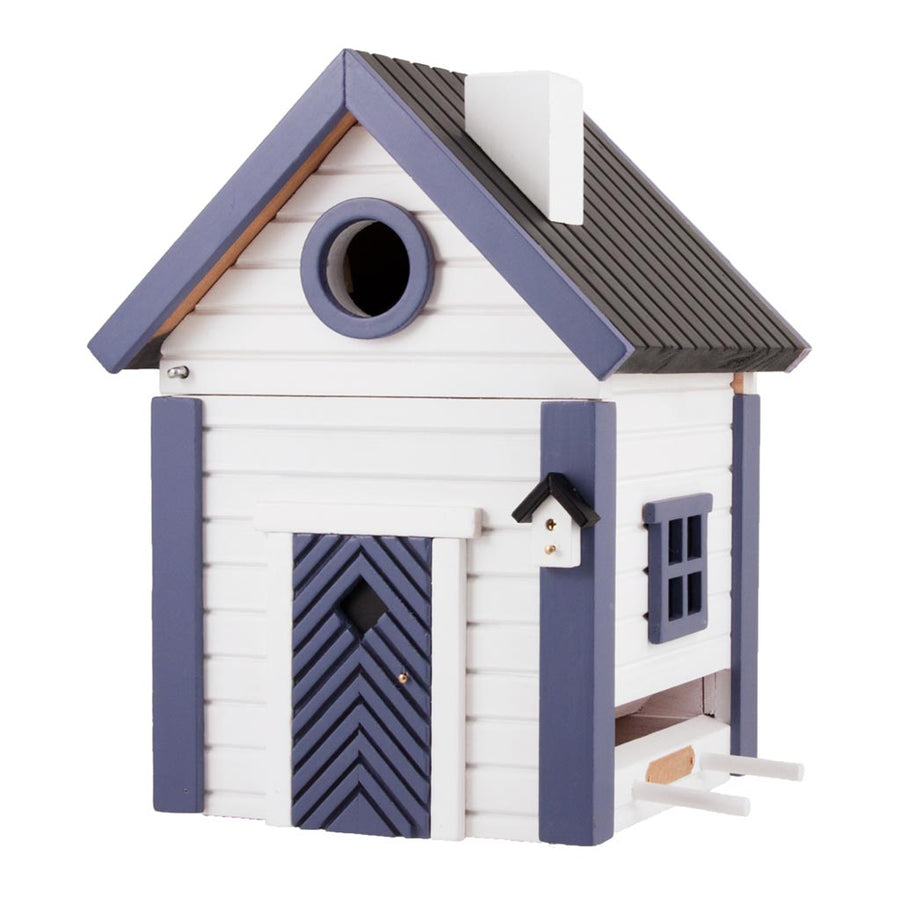Wildlife Garden Multiholk Designer Bird House + Feeder White and Blue Cottage WG103