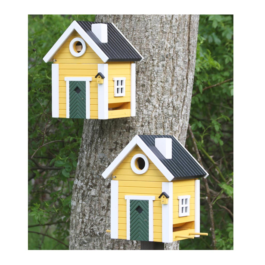 Wildlife Garden Multiholk Designer Bird House + Feeder Yellow Cottage WG104