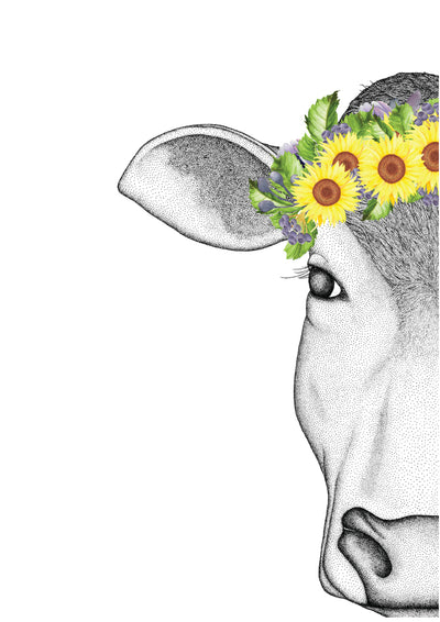Carly the Cow with Sunflower Crown