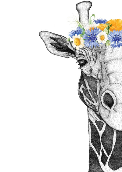 Georgi the Giraffe with Flower Crown- Neutral