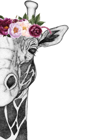 Georgi the Giraffe with Flower Crown- Pink