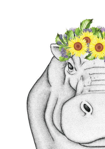 Harper the Hippo with Sunflower Crown