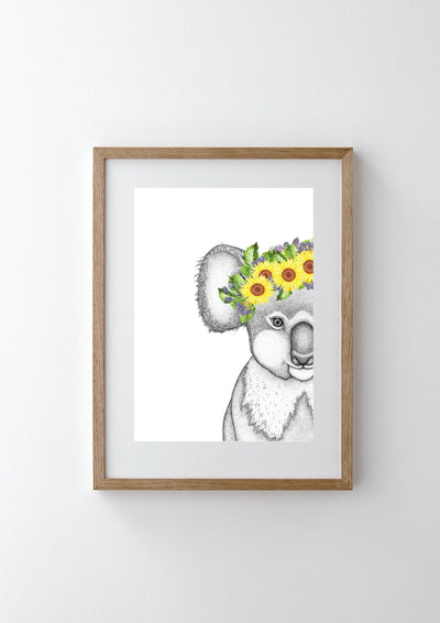 Kerry the Koala with Sunflower Crown