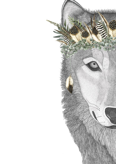William the Wolf with Luxe Feather Crown