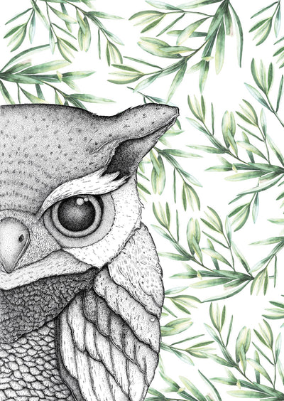 Oliver the Owl with Leaves