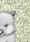 Walter the Wombat with Gum Leaves