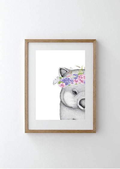 Winnie the Wombat with Hydrangea Crown