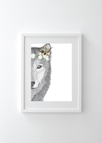 Willow the Wolf with Luxe Feather Crown