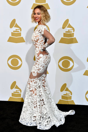 Beyoncé White Lace Gown
