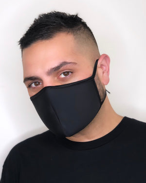 Clear Face Shield Black Mask (Tie Straps) Combo