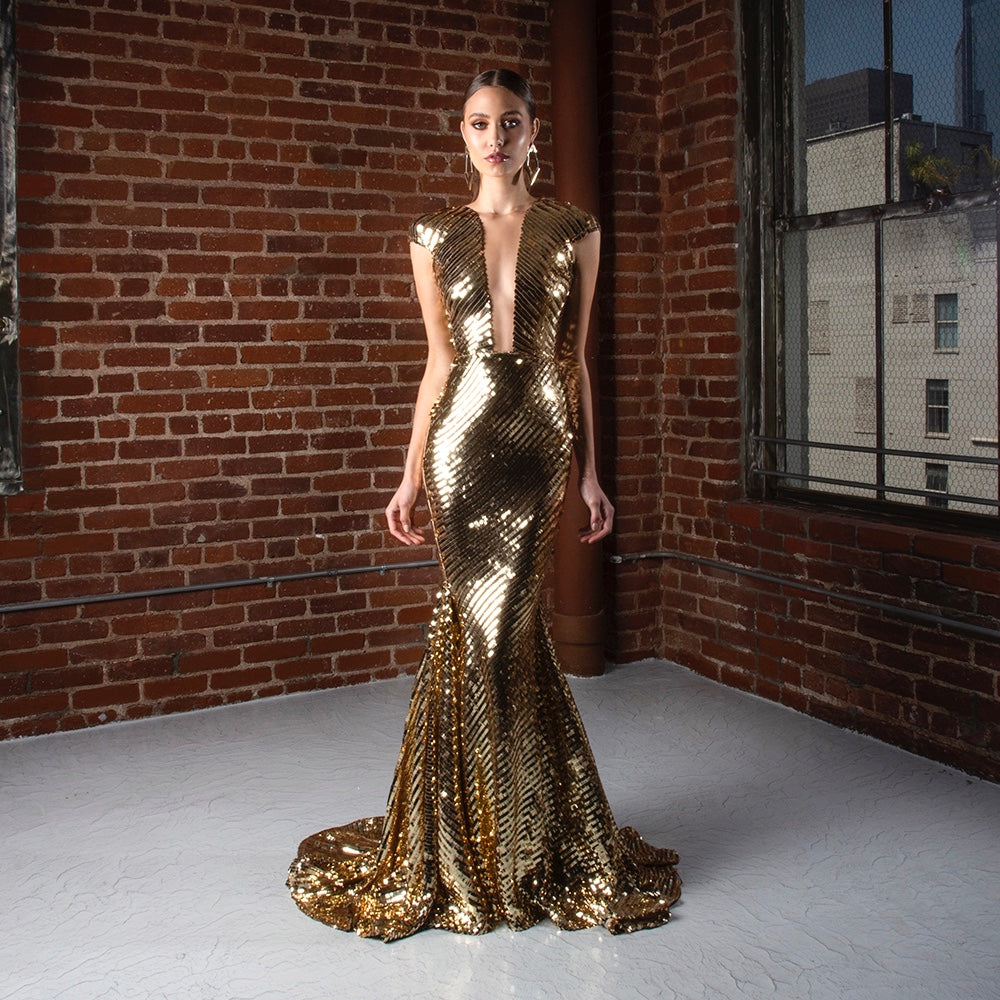 Get Michael Costello Follie Gown Background