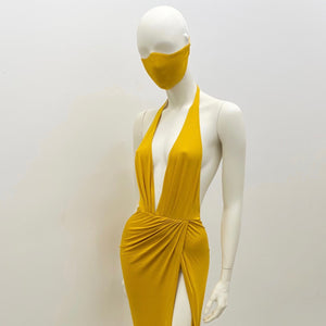 Yellow Plunging Dress & Mask