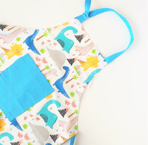 Kids Apron - Dinosaur, Blue or White