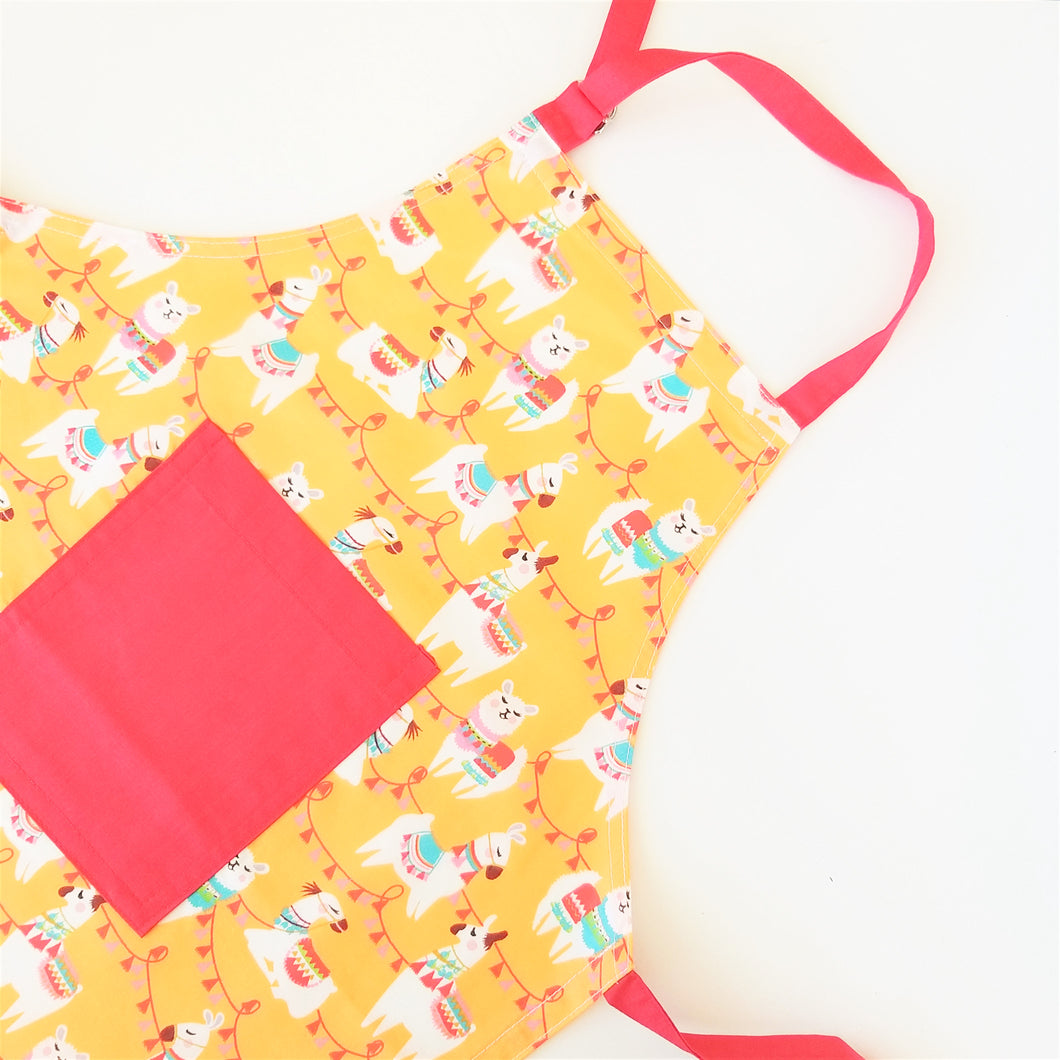 Kids Apron - Llama in Orange or Green