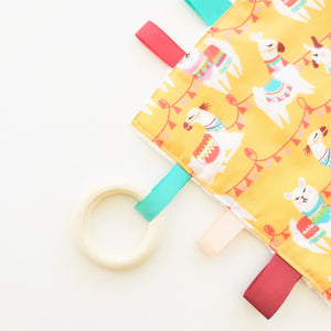 Sensory Blanket - Llama Party in Orange or Green