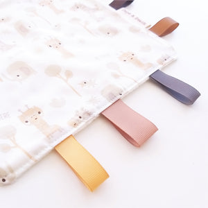 Sensory Blanket - Elephants and Giraffes in Beige