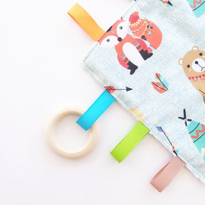 Sensory Blanket - Teepee Animals in Beige or Mint