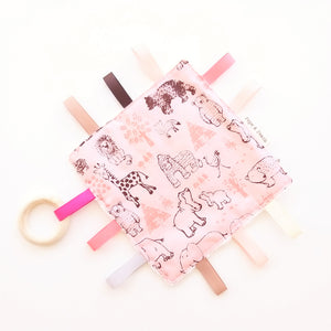 Sensory Blanket - Safari Animals in Pink