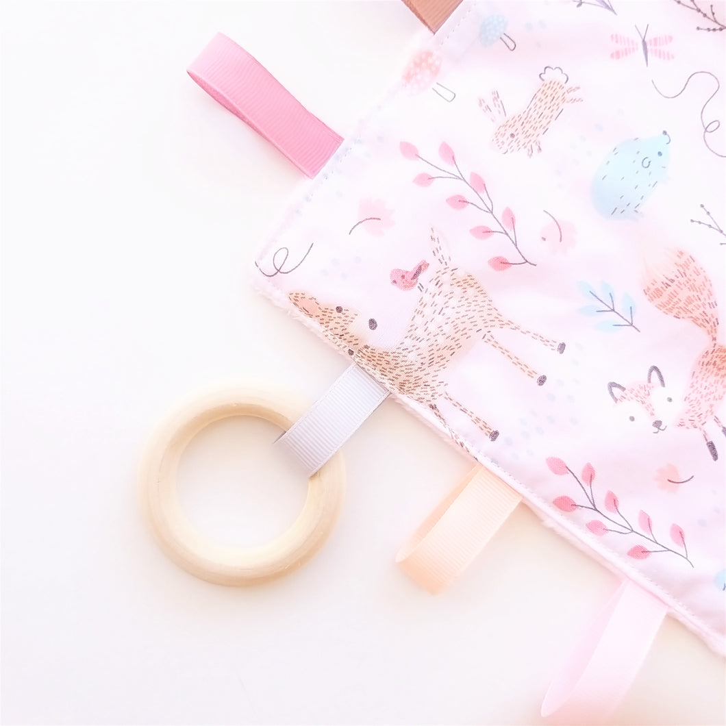 Sensory Blanket - Baby Woodland Animals in Pink or Blue