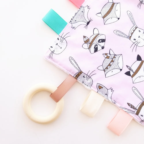 Sensory Blanket - Woodland Animals in Blue or Pink