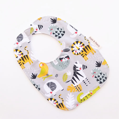 Baby Bib - Rainforest Animals in Grey or Aqua