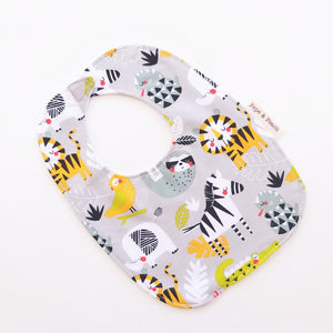 Baby Bib - Jungle Animals in Grey or Aqua