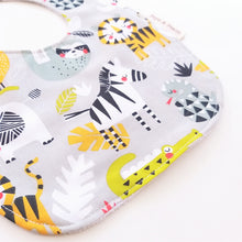 Load image into Gallery viewer, Baby Bib - Rainforest Animals in Grey or Aqua