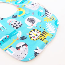 Load image into Gallery viewer, Baby Bib - Jungle Animals in Grey or Aqua