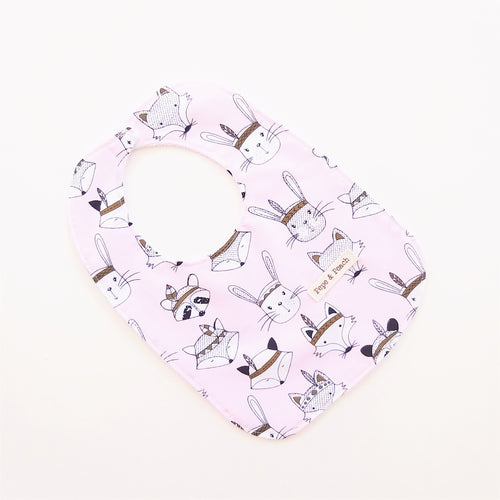 Baby Bib - Tribal Woodland Animals in Pink or Blue