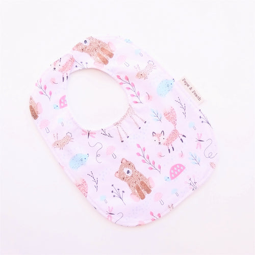 Baby Bib - Baby Woodland Animals in Pink or Blue