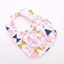 Load image into Gallery viewer, Baby Bib - Mustard Peach Triangles