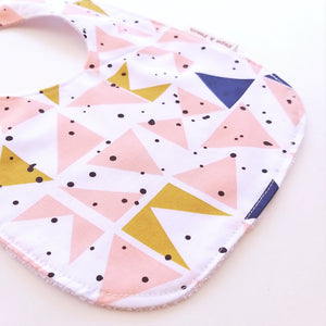 Baby Bib - Mustard Peach Triangles