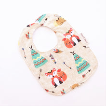Load image into Gallery viewer, Baby Bib - Teepee Woodland Animals in Beige or Mint
