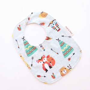 Baby Bib - Teepee Woodland Animals in Beige or Mint