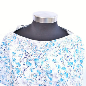 Breastfeeding Cover - Blue Waterpaint Flowers