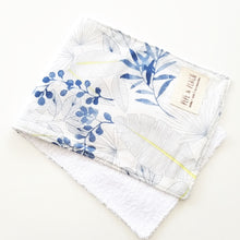 Load image into Gallery viewer, Burp Cloth - Blue Leaves